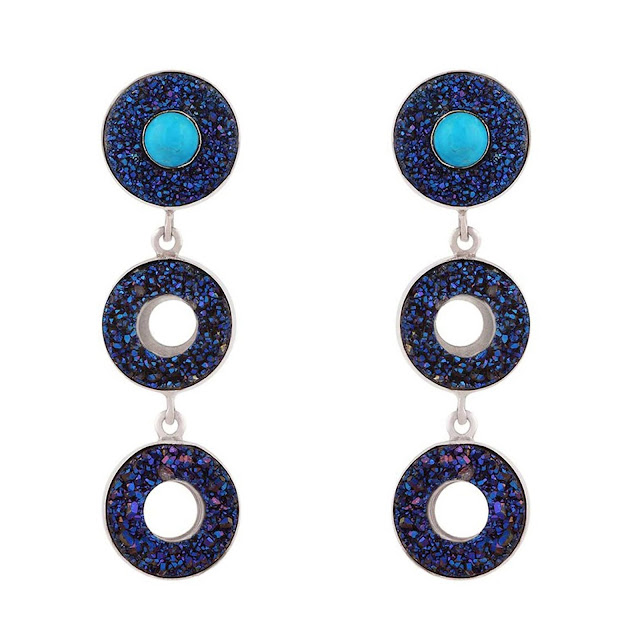 Cobalt Blue Drouzy & Turquoize silver Earrings by Velvetcase.com-