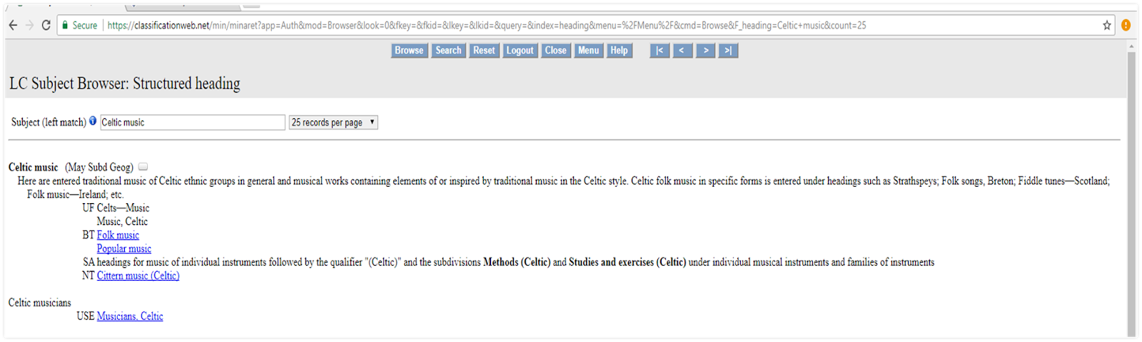 Figure 1b. Celtic Music is the approved LCSH.  Source: www.classificationweb.net.