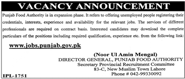 Jobs In Punjab Food Authority Govt Of Punjab Lahore 2018 for 10 Posts
