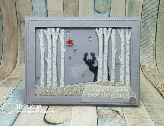 Deer in Birch Woods Cards by Naki Rager | Serene Silhouettes stamp set by Newton's Nook Designs #newtonsnook