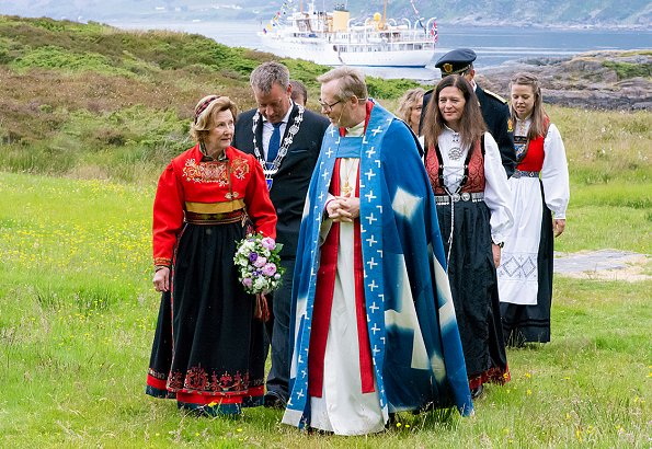 Queen Sonja of Norway attended the 950th anniversary of the Ancient Diocese of Bergen on the island of Selja