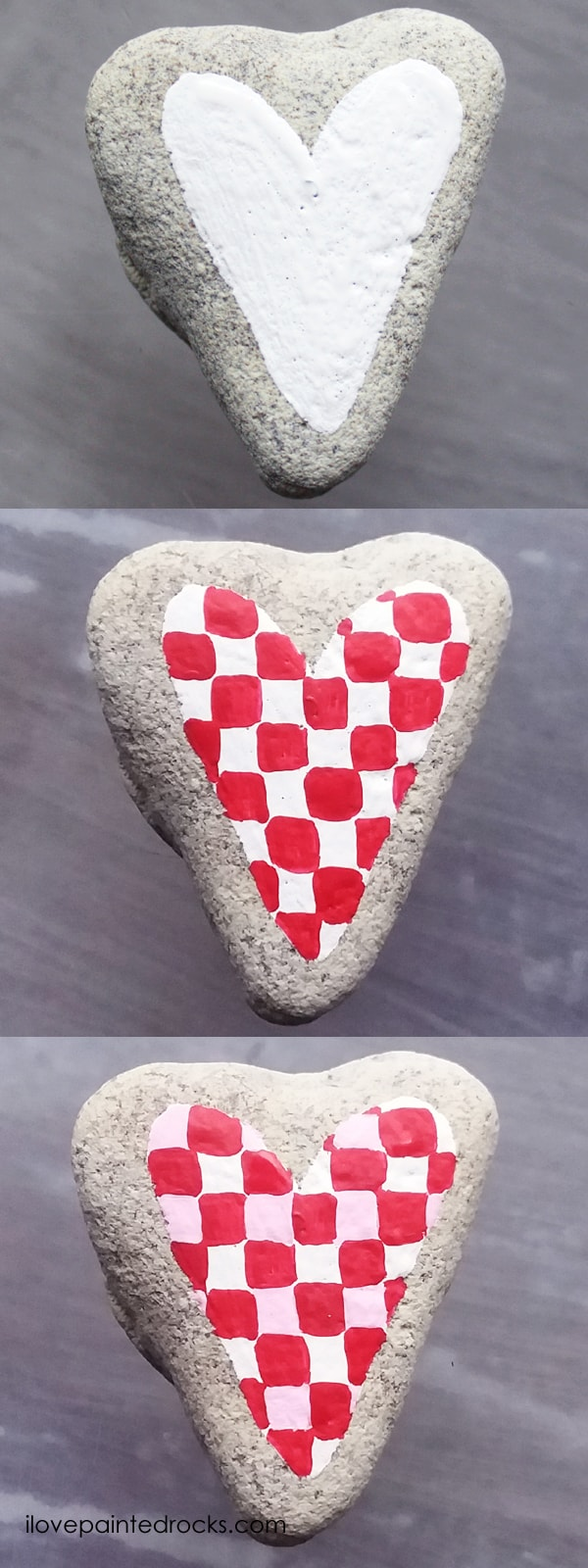 Easy rock painting ideas for Valentine's Day. I love all the painted rock tutorials in this post! Learn how to paint a buffalo check plaid inspired heart rock. #ilovepaintedrocks #rockpainting #paintedrocks #valentinescraft #easycraft #kidscraft #rockpaintingideas