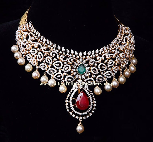 Ruby Highlighted Diamond Necklace