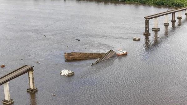 após a queda de parte da ponte da Alça Viária, que fica sobre o rio Moju, no interior do estado.