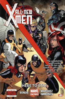 Review All-New X-Men Volume Two Here to Stay Brian Michael Bendis Stuart Immonen Wade Von Grawbadger Marte Gracia David Marquez time-displaced original X-Men Angel Warren Worthington III Marvel Girl Jean Grey Cyclops Scott Summers Beast Hank McCoy Iceman Bobby Drake Thor Captain America Black Widow Hawkeye Avengers the possibilities seem endless, because the story treads on genuinely new ground comicbookresources.com bonus digital edition included AR Augmented Reality Marvel cover hardcover hc comic book