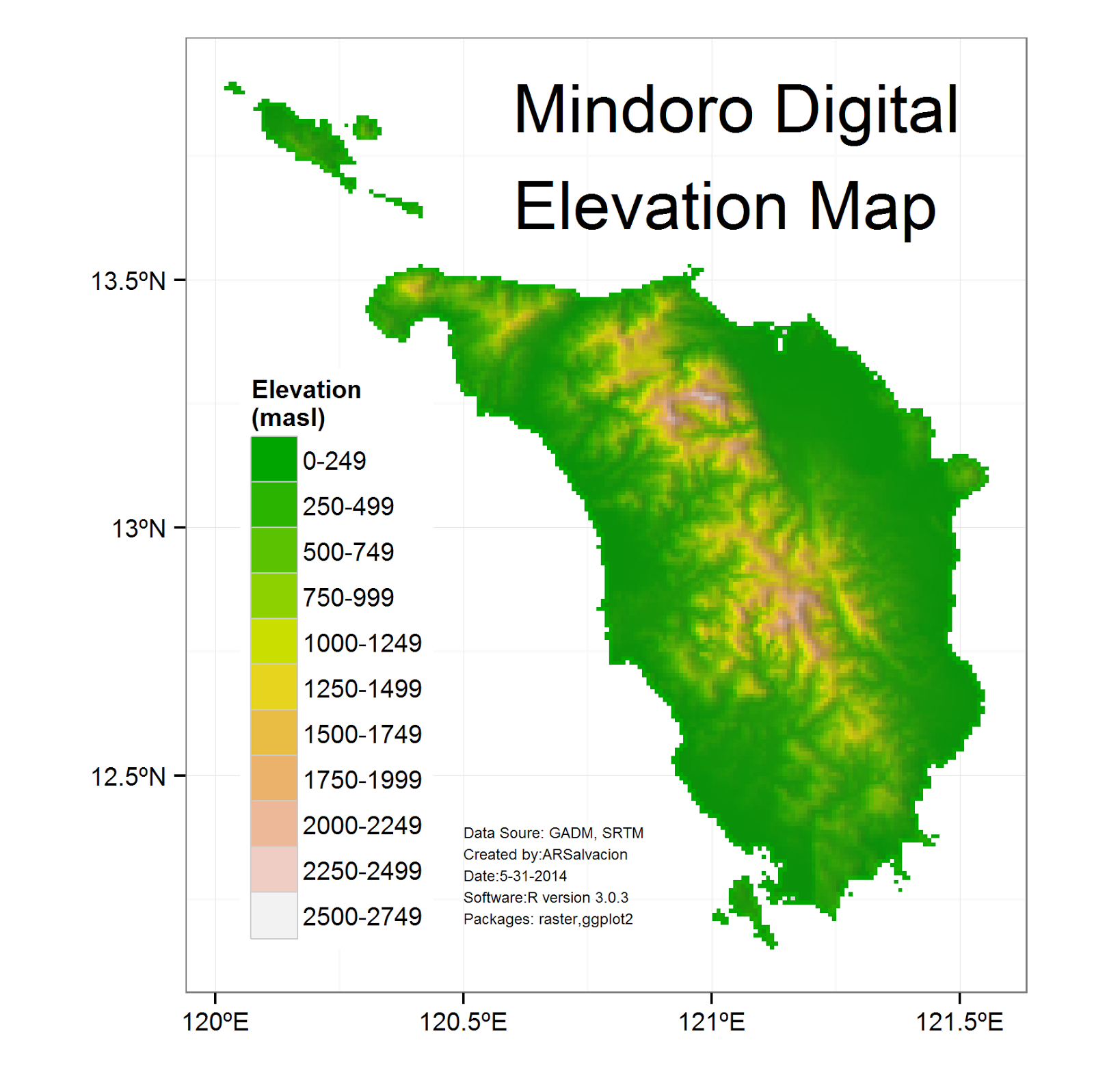 Mindoro Digital Elevation Map Updated