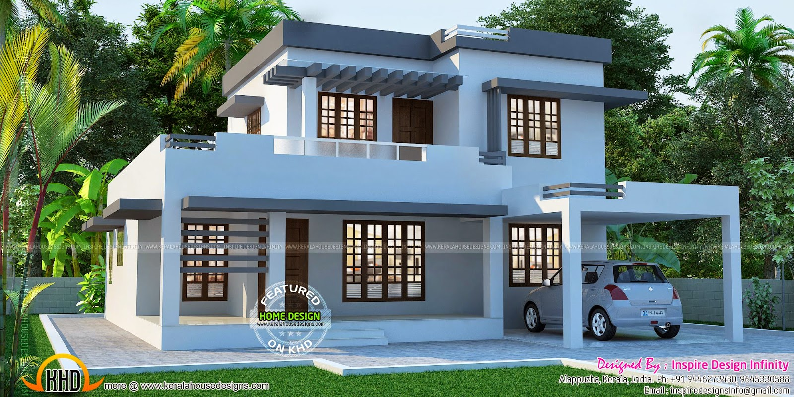 Beautiful flat house exterior home design simple for Beautiful exterior home design
