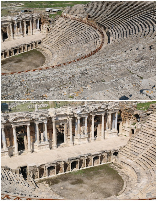 The theatre is divided into two parts by the central diazoma and vertically by 8 staircases into 9 kerkides at Hierapolis in Pamukkale, Turkey