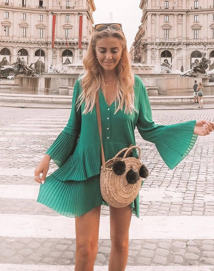 great outfit idea / green pleast dress and round straw bag