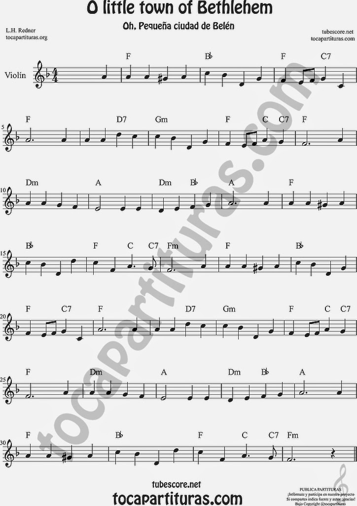 O little town of Bethlehem Partitura de Violín Sheet Music for Violin Music Scores Music Scores