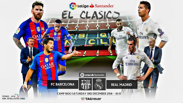 Barcelona x Real Madrid, (El Clássico, 03/12/2016) - Prognóstico, Horário e TV