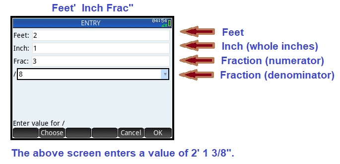 In Feet Inches Entry Mode You Will Enter The Feet Whole Inches And Fractional Components Of Inches Separately See Screen Sbelow