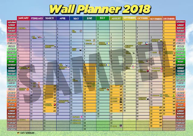 Yeay, Wall Planner 2018 huda dah siap!