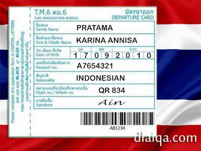 Kartu Keberangkatan - Thailand