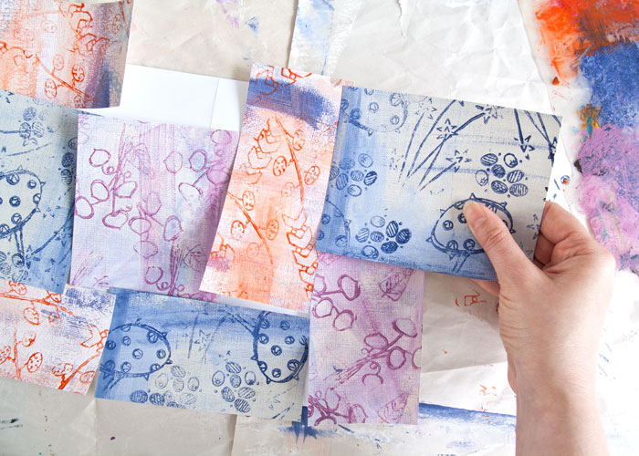 making the patchwork of patterned paper by Kim Dellow