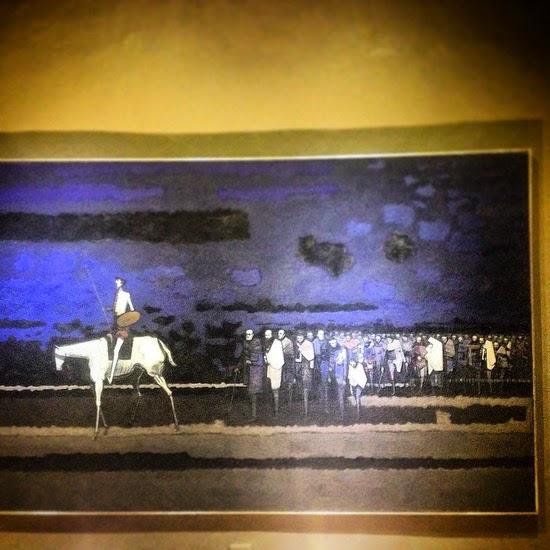 Después de la guerra civil española se calcula que llegaron a México entre 20.000 y 25.000 exiliados. De estos miles un gran porcentaje eran artesanos, maestros, músicos. artistas, escritores.  Obra: Don Quijote en el Exilio  Autor: Antonio Rodríguez Luna