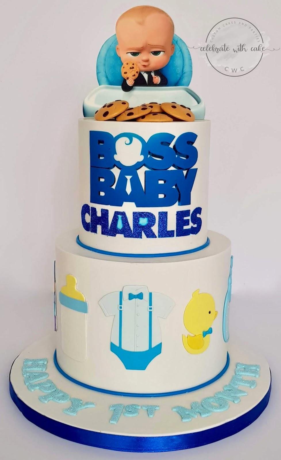 Boss Baby Two Tiers 1st Birthday Cake