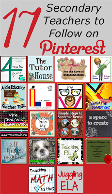 Top Secondary Teachers to Follow on Pinterest!