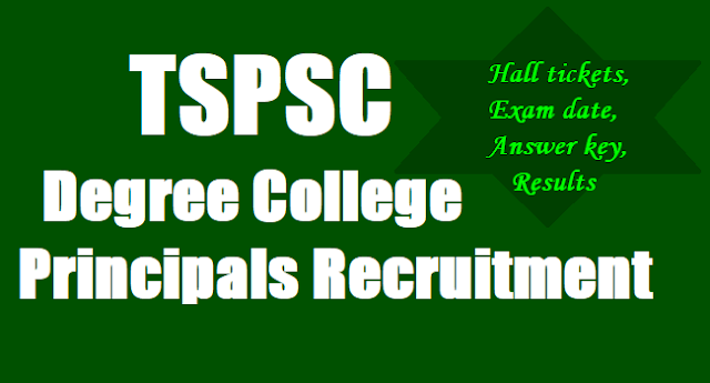TSPSC Degree College Principals Recruitment,Exam date,Hall tickets, Answer key,Results