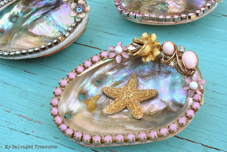 Abalone shells embellished with vintage jewelry