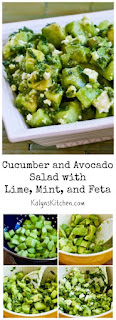 Cucumber and Avocado Salad Recipe with Lime, Mint, and Feta found on KalynsKitchen.com