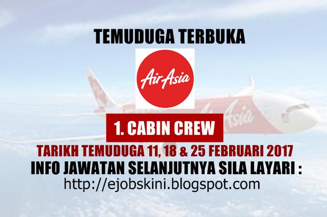 Temuduga Terbuka di AirAsia Berhad Pada 25 Februari 2017