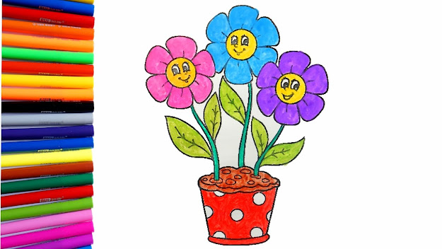 Flower Coloring Pages  Coloring Flower Pot With  Colorful Flowers
