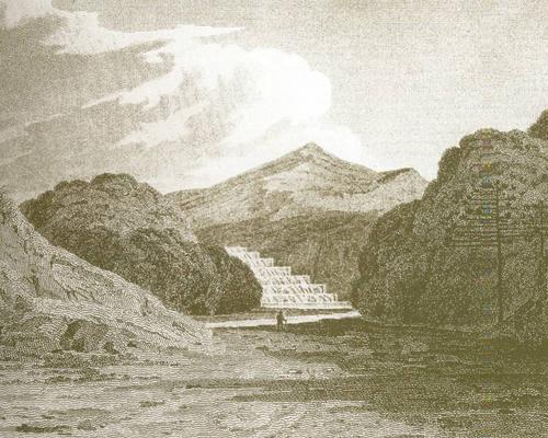 Gravura feita pelo mineralogista John Mawe (1764-1829) em 1812 mostra as lavras de ouro do Jaraguá. Esta é uma das mais antigas imagens da região.