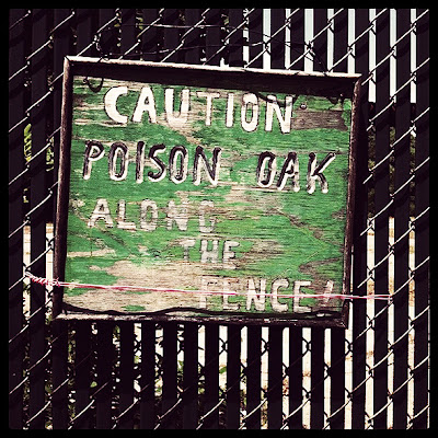 Warning sign for poison oak