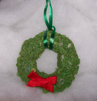 Shredded Wheat Wreath Ornaments