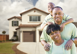 Image of a happy family after mold inspection of their house