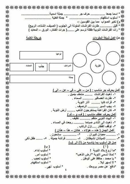 اقوى مراجعة نهائية فى اللغة العربية للصف الثالث الابتدائى الترم الثانى روعة جدا لن تجد لها اى مثيل 4