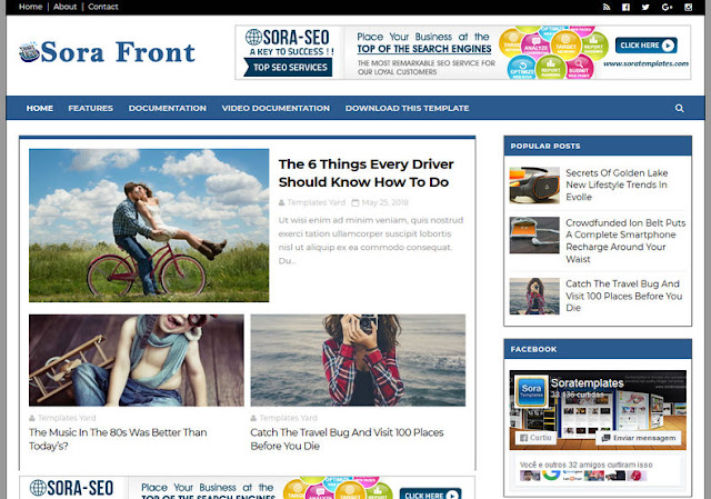 Sora Front Blogger Template Free Download 2019