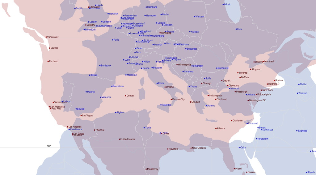 European & North American cities overlaid at equivalent latitude