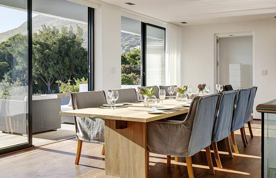dining table, chairs, grey, family table, family holiday, betty bake, accommodirect, modern, noordhoek, neat, comfy, chairs