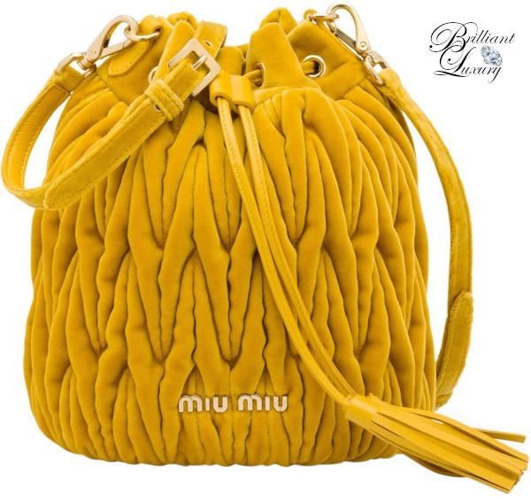 Brilliant Luxury♦Miu Miu Matelassé bucket bag in yellow