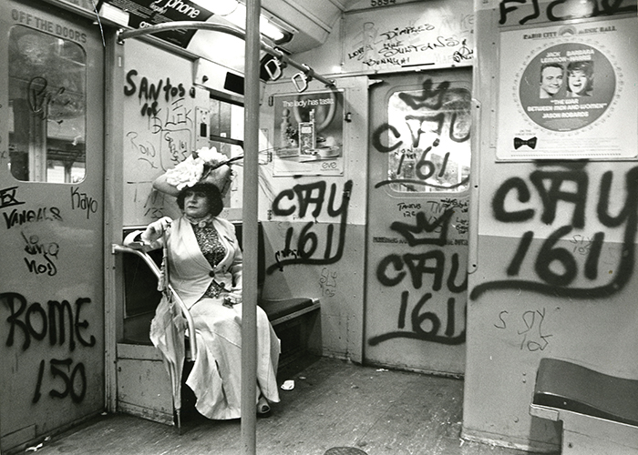 fashion meets architecture in revived photo essay amazing  bill cunningham editta sherman on the train to the brooklyn botanic garden ca 1972 gelatin silver photograph new york historical society