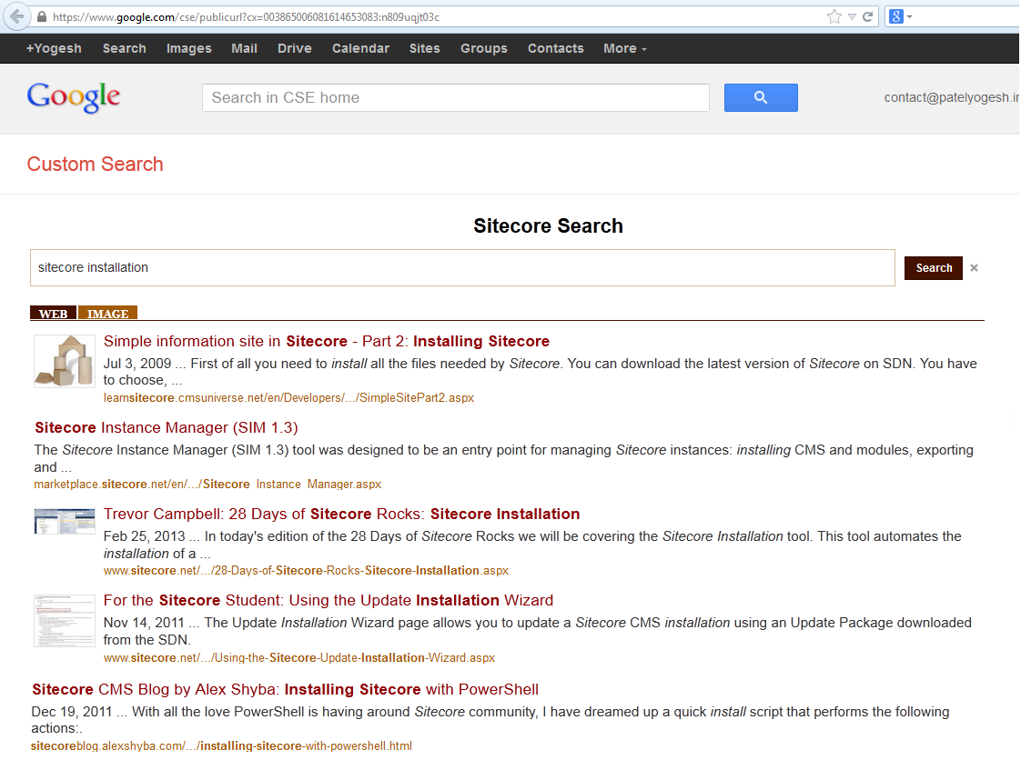 Custom Google Search Engine for Sitecore Technical Blogs