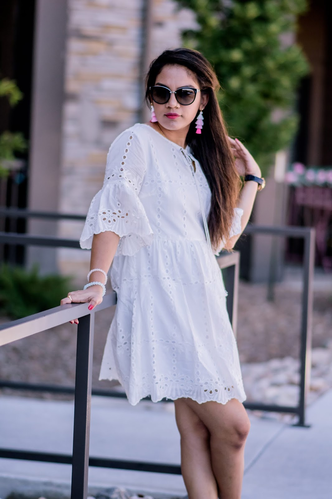 Ain For Glam; Prasanthi Kadiyala; Summer State of Mind; White Dress; Eyelet Pattern; She In US; DSW; Jessica Simpson; Micheal Kors;