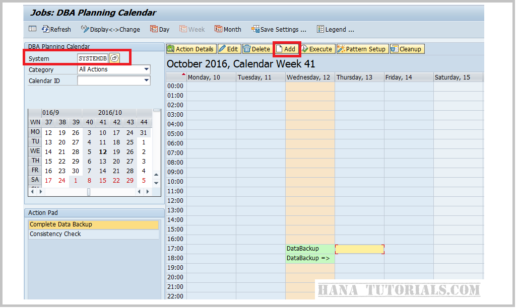 HANA Tutorials: Schedule HANA Backup using ABAP DBACOCKPIT