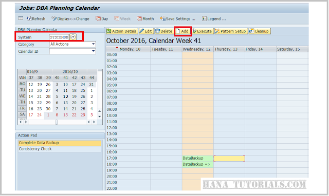 SAP ABAP DB13 to schedule HANA backup