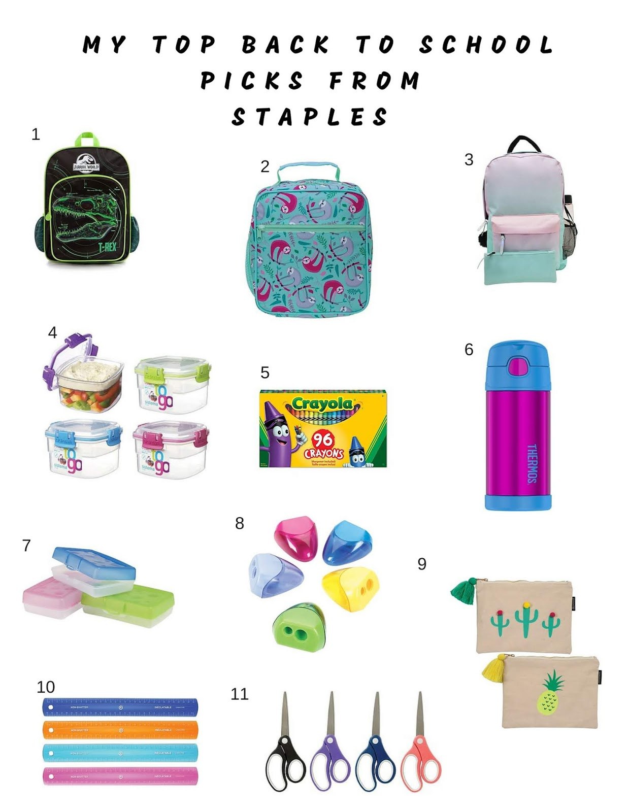 628f97fa59ca8d 1 Heys Jurassic Backpack $16.98   2 Staples Sloth Lunch Bag $9.98   3 Multi  Piece Backpack $24.98   4 Assorted Snack Containers $9.98   5 Crayola  Crayons 96 ...