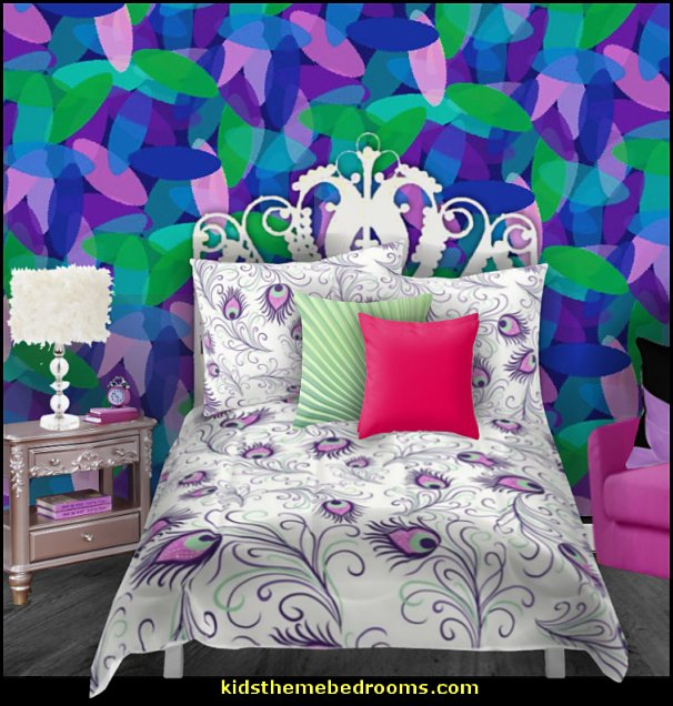 peacock bedrooms  Peacock themed decorating - peacock bedding - peacock home decor - peacock theme decor - exotic style decorating - Peacock Decorations - Peacock Nursery - peacock wall decoration - peacock colors - peacock color decor - peacock wallpaper - peacock bedding - Peacock curtains -  life size peacock decorations - Peacock feather  - Peacock living room
