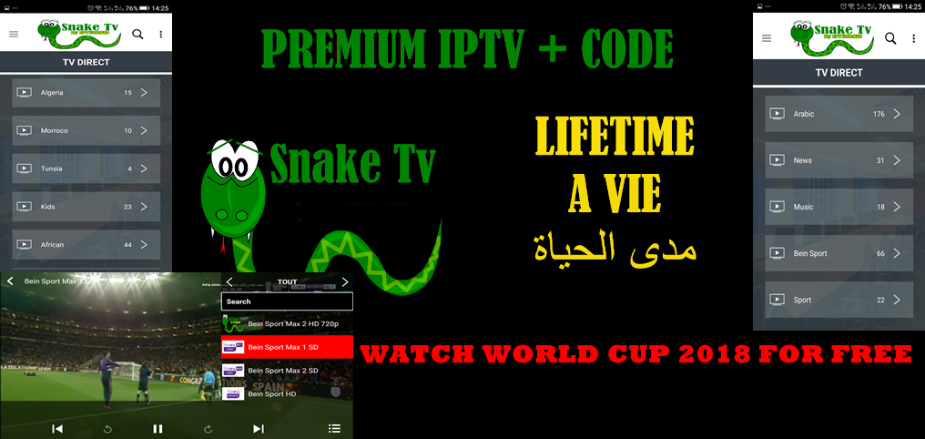 Snake Tv apk : WATCH Premium IPTV CHANNELS +CODE FOR A LIFE