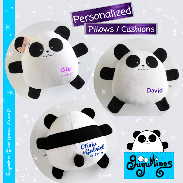 Cojin Almohada Tierno Oso Panda de Peluche Nombre Personalizado regalo cumpleaños, Guyuminos