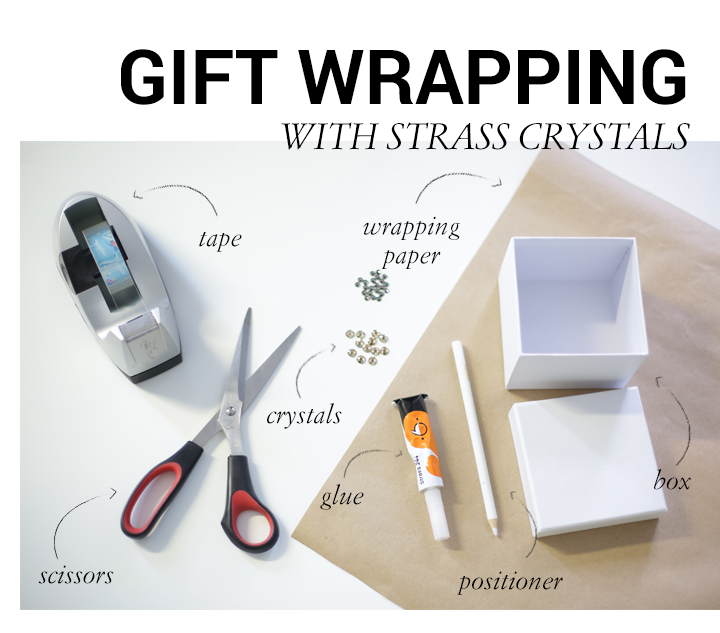 This picture is showing detailled instructions on how to wrap a present using Swarovski crystals. We used some crystals and tried to impersonate a gift ribbon with glueing crystals in a straight line onto to already wrapped present.