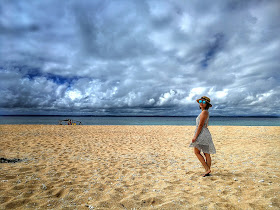 Sea, boat, sky, arteche, eastern samar, higunom, naked island, girl, dress, sand, little pinay