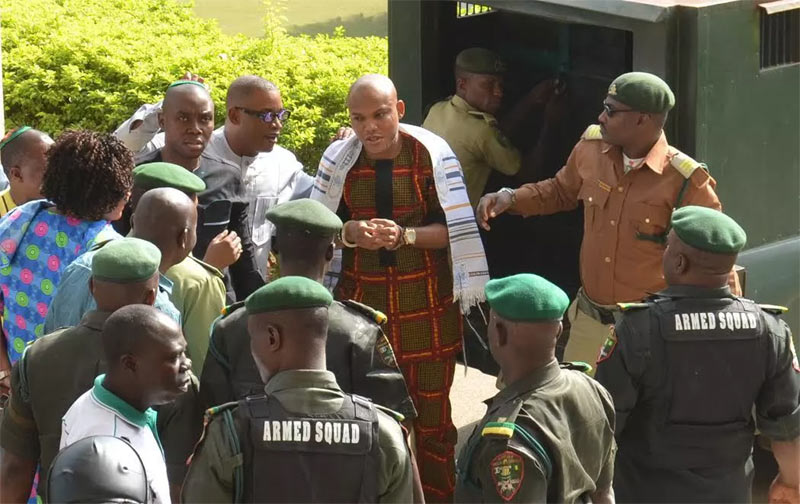 "Photos: ""Masquerades"" testify against Biafran agitator, Nnamdi Kanu"