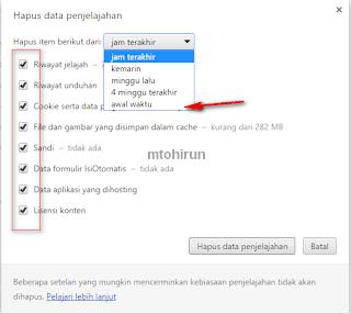 Cara menghapus History browser