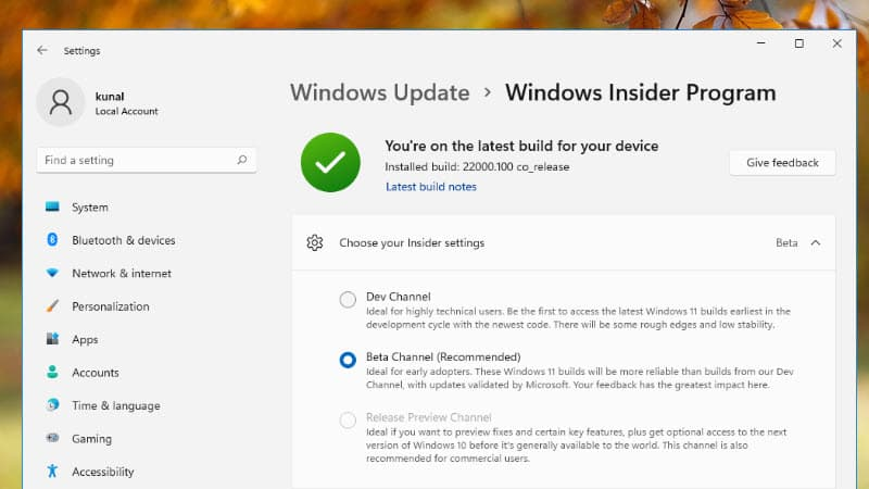 How to switch from Windows 11 Insiders Dev Channel to Beta Channel